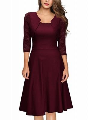 Half Sleeve Burgundy Women's Cocktail Evening Party Dress