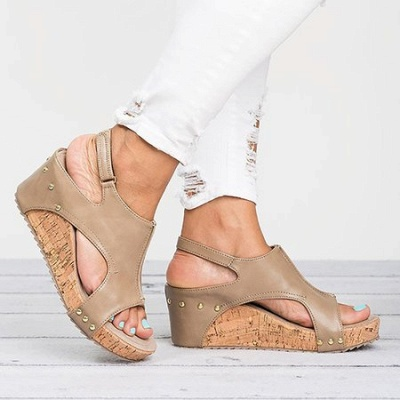 Peep Toe PU Blocking Hook-Loop Wedge Sandals_9