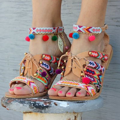Multicolor Beach Buckle Chain Sandals_4