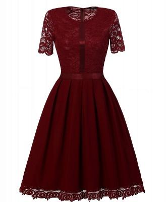Purple Short Sleeve Knee-length Vintage Dress_1