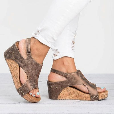 Peep Toe PU Blocking Hook-Loop Wedge Sandals_1