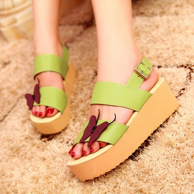 Butterfly Daily Buckle Peep Toe Platform Wedge Sandals_8