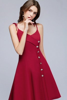 Sweetheart Straps Length Homecoming A-Line Dresses Knee Spaghetti with Buttons_7