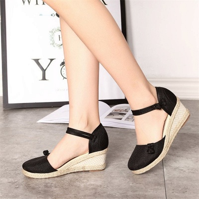 Espadrilles Button Daily Cloth Wedge Sandals_7