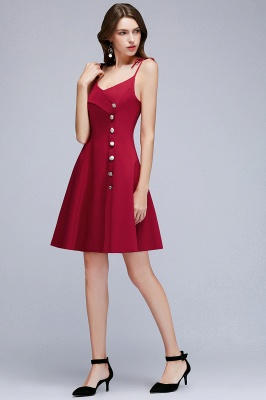 Sweetheart Straps Length Homecoming A-Line Dresses Knee Spaghetti with Buttons_4