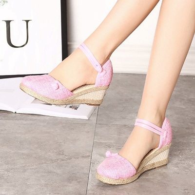 Espadrilles Button Daily Cloth Wedge Sandals_13