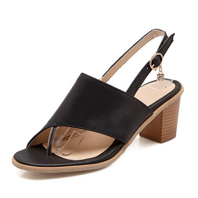 Buckle Hollow-out Flip-flops Chunky Sandal_3