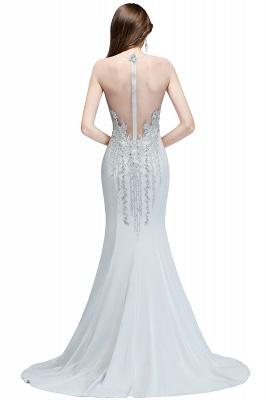 Beading Elegant Sheer-Neck Cap-Sleeves Mermaid Bridesmaid Dresses_4