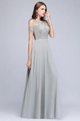 Appliques A-Line Cold-Shoulder Scoop Cheap Beaded Silver Bridesmaid Dresses_2