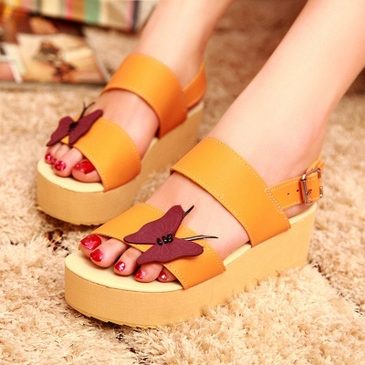 Butterfly Daily Buckle Peep Toe Platform Wedge Sandals_2