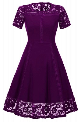 Elegant Women Round Neck Vintage Lace Dress Homecoming Dress