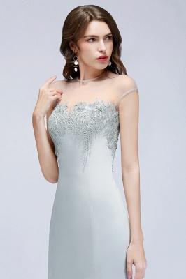 Beading Elegant Sheer-Neck Cap-Sleeves Mermaid Bridesmaid Dresses_3