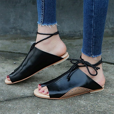 Braided Strap Daily Flat Heel Sandals_6