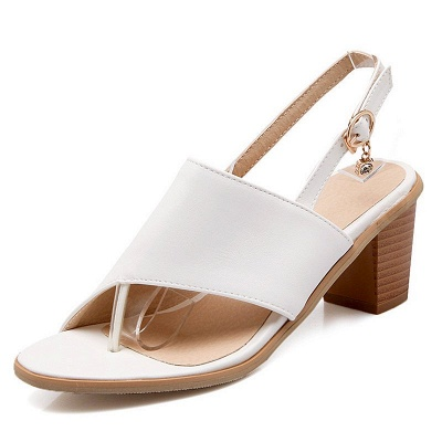 Buckle Hollow-out Flip-flops Chunky Sandal_1