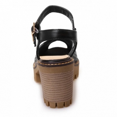 Peep Toe Platform Buckle Daily Chunky Sandals_17