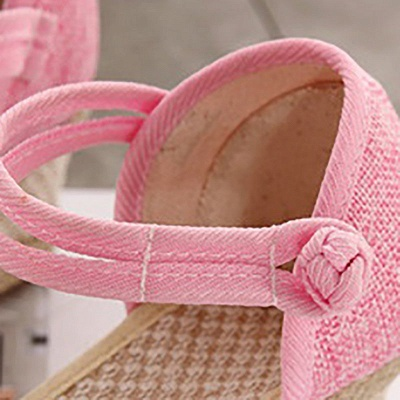 Espadrilles Button Daily Cloth Wedge Sandals_8