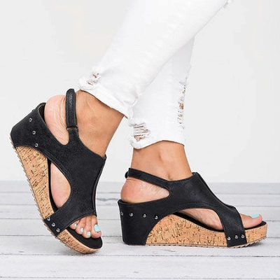 Peep Toe PU Blocking Hook-Loop Wedge Sandals_7