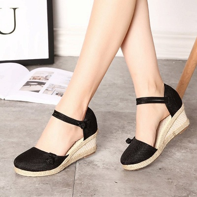 Espadrilles Button Daily Cloth Wedge Sandals_12