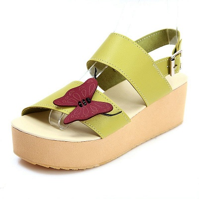Butterfly Daily Buckle Peep Toe Platform Wedge Sandals_10