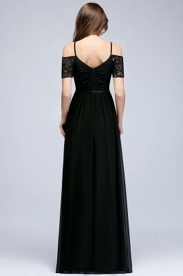 Lace Sexy Cold-Shoulder Chiffon Black Short-Sleeves Evening Dress_5