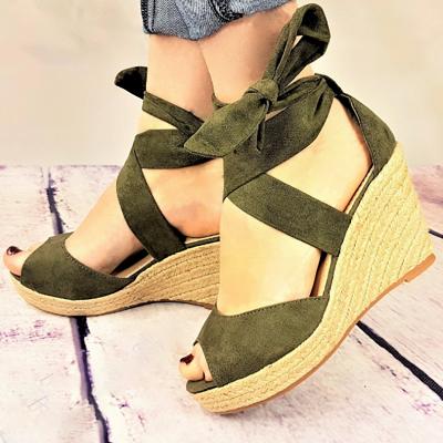 Espadrilles Bowknot Peep Toe Summer Wedge Sandals_3