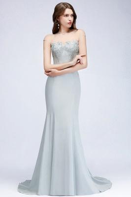 Beading Elegant Sheer-Neck Cap-Sleeves Mermaid Bridesmaid Dresses_2