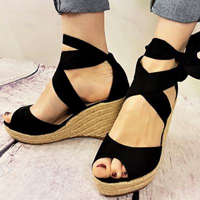 Espadrilles Bowknot Peep Toe Summer Wedge Sandals_2