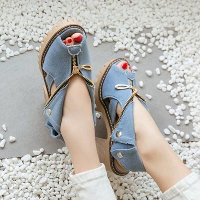 Denim Peep Toe Platform Women Chunky Sandals_6