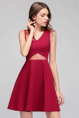 MANDY   A-line Sleeveless Short V-neck Tulle Neckline Homecoming Dresses_4