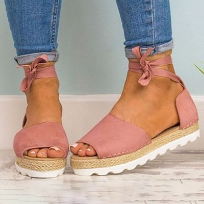 Lace-up Casual Flocking Platform Sandals_17