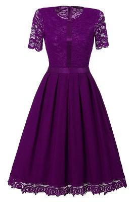 Purple Short Sleeve Knee-length Vintage Dress_2