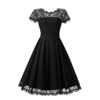 Women Floral Lace Short Sleeve Vintage Lady Party Swing Bridesmaid Dress_6