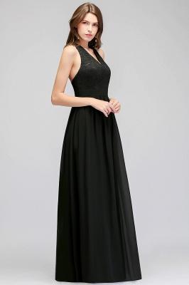 Lace V-Neck A-line Crisscross Chiffon Black Evening Dress_3