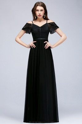 Lace Sexy Cold-Shoulder Chiffon Black Short-Sleeves Evening Dress_1