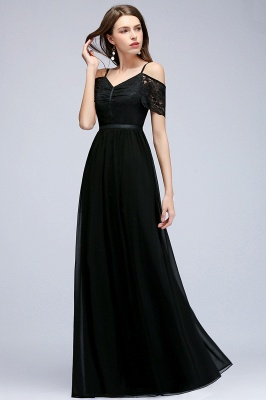 Lace Sexy Cold-Shoulder Chiffon Black Short-Sleeves Evening Dress_4