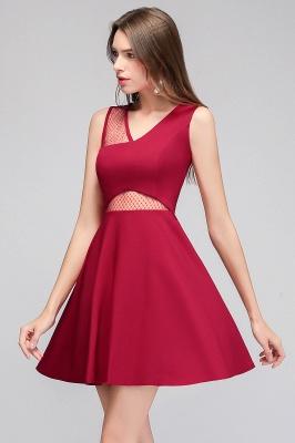MANDY   A-line Sleeveless Short V-neck Tulle Neckline Homecoming Dresses_7