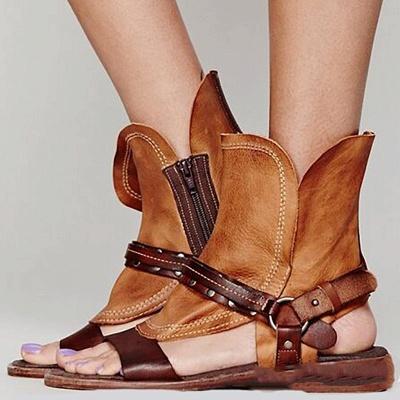 Rivet PU Flat Summer Daily Peep Toe Buckle Sandals_1