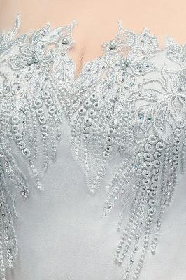 Beading Elegant Sheer-Neck Cap-Sleeves Mermaid Bridesmaid Dresses_5