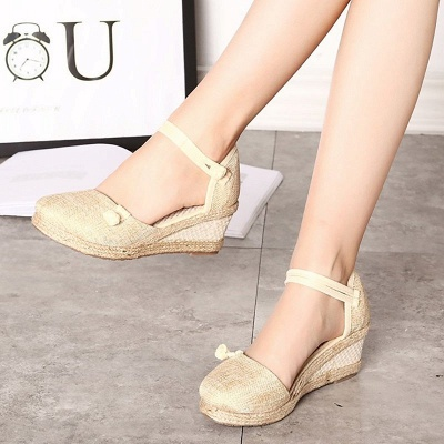 Espadrilles Button Daily Cloth Wedge Sandals_1