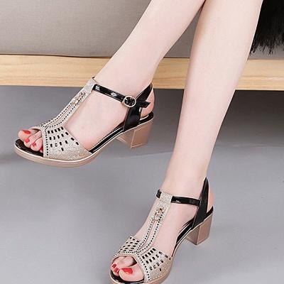 Glitter Rhinestone Buckle Peep Toe Summer Chunky Sandals_9