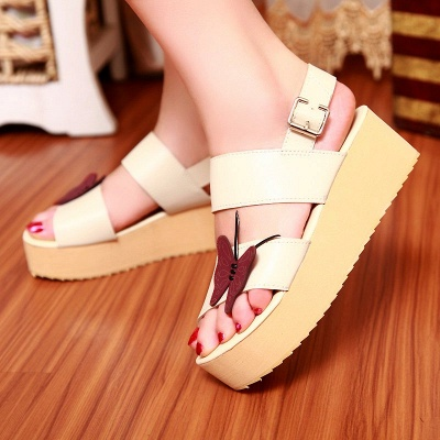 Butterfly Daily Buckle Peep Toe Platform Wedge Sandals_1