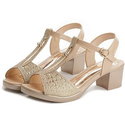 Glitter Rhinestone Buckle Peep Toe Summer Chunky Sandals_1