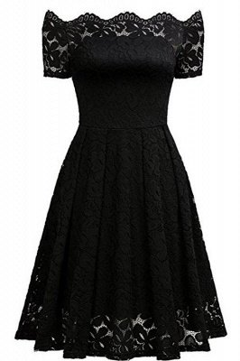 Solid Lace Peasant Off the Shoulder A-line Dress
