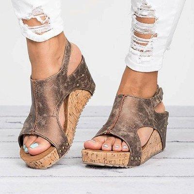 Peep Toe PU Blocking Hook-Loop Wedge Sandals_13