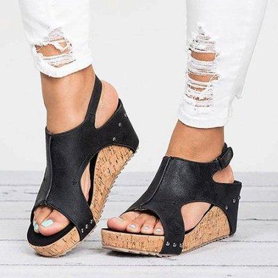 Peep Toe PU Blocking Hook-Loop Wedge Sandals_4
