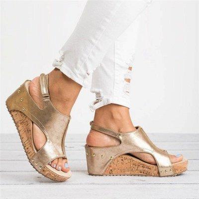 Peep Toe PU Blocking Hook-Loop Wedge Sandals_8
