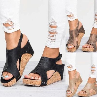 Peep Toe PU Blocking Hook-Loop Wedge Sandals_15