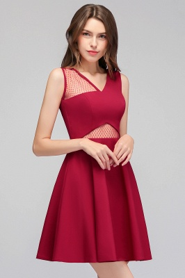 MANDY   A-line Sleeveless Short V-neck Tulle Neckline Homecoming Dresses_1