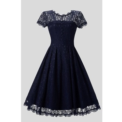 Women Floral Lace Short Sleeve Vintage Lady Party Swing Bridesmaid Dress