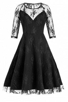 Black Half Sleeves Hollow Women Lace Dress